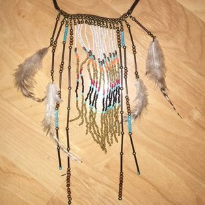 Jewelry - Festival artisanal beaded feather necklace